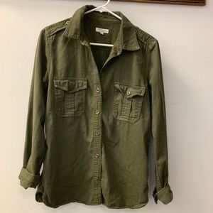 Equipment army green button down